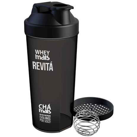 a160c9e750 Coqueteleira Shaker Whey Mais Preta - Chá mais - Garrafa e ...