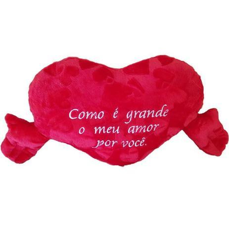 Coração De Pelúcia 70cm Vermelho Com Frases Feo6850 Fizzy