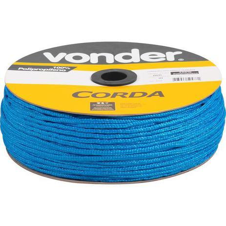 Imagem de Corda multifilamentada trançada 6mmx165m 2,55kg azul polipropileno carretel - Vonder