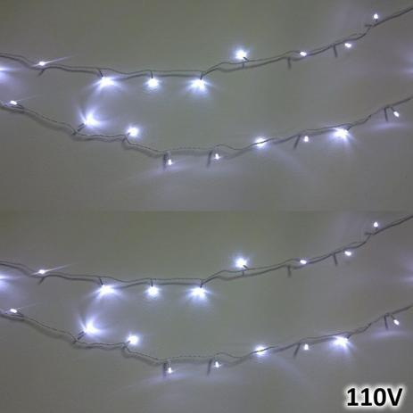 Menor preço em Cordão 100 LEDs 10m Branco 110VOLTS Fio Branco Fixo CBRN0685 - Commerce brasil