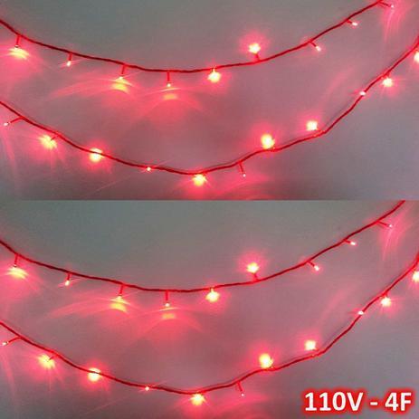 Menor preço em Cordão 100 LEDs 10m Vermelho 110VOLTS Fio Vermelho 4F CBRN0692 - Commerce brasil