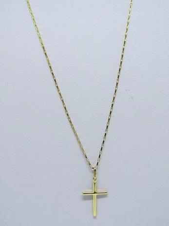 Cordão Corrente 80cm E Pingente Crucifixo Ouro 18k 750 - Dr joias ... bee542ddb4