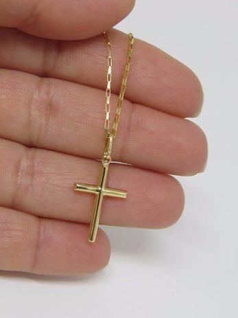 Imagem de Cordão Corrente Masculina Ouro 60cm E Pingente Cruz Crucifixo Ouro 18k 750 Cadeado