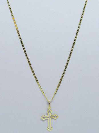 75333e3796767 Cordão Corrente Piastrine Média 60cm + Crucifixo Ouro Vazado 18k 750 - Dr  joias
