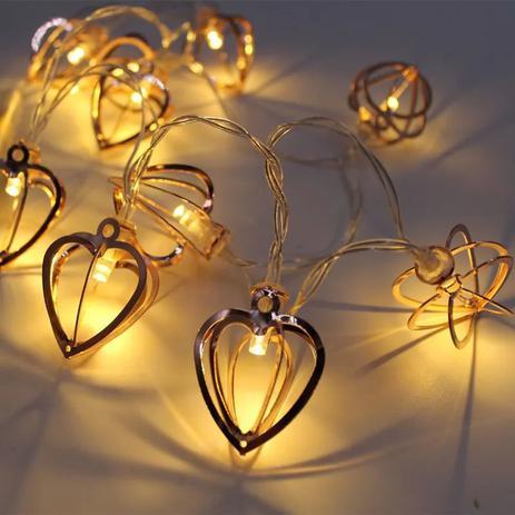 Imagem de Cordao Decorativo 10 Led Metal Coração Luzes Led Fada Luzes