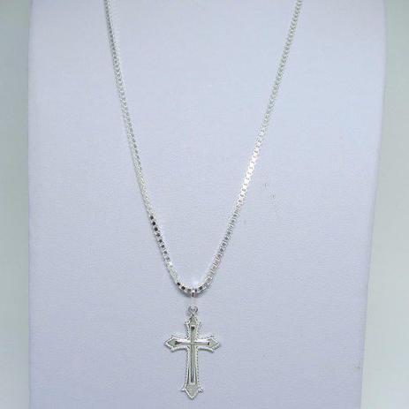 7dc1cf4ba8 Corrente Cordão 80cm Pingente Crucifixo Prata 925 - Dr joias - Jóias ...