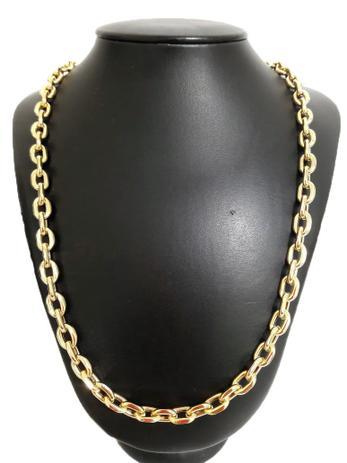 51b98ec4804 Corrente Cordão Cadeado 35 Gramas 7mm 70cm Ouro 18k 750 - 70 CM - Ouro  Amarelo - Perucci joias