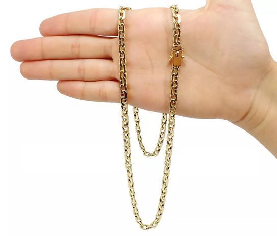 eb0e3c0eabc Corrente Cordão Esquerda Direita 24 Gramas 5mm 70cm Ouro 18k 750 - 70 CM - Ouro  Amarelo - Perucci joias