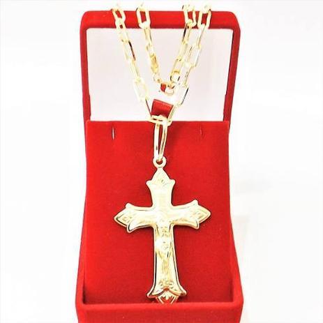 9ebb3bafd50 Corrente Cordão Masculino 60cm 4mm e Crucifixo tudo Folheado Ouro Semi Jóia  Cod  1811 21 - Gabriela costa semi jóias