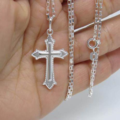 3dcfed8d4a Corrente Cordão Masculino Prata 60cm E Crucifixo Prata 925 Cadeado - Dr  joias