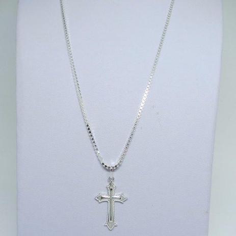 f329f47cb0 Corrente Cordão Veneziana 50cm 2.5mm Pingente Crucifixo Prata 925 - Dr joias