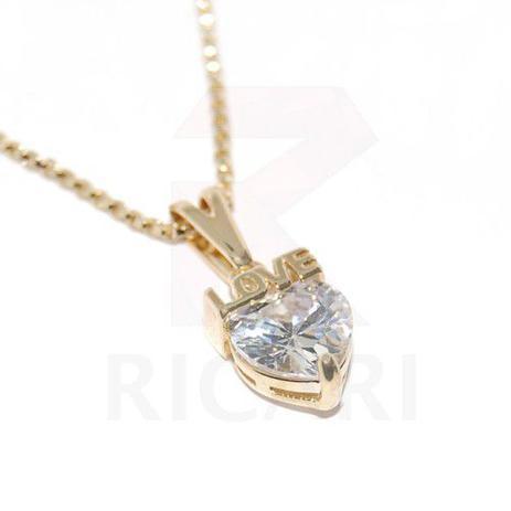 915e1a9c1d74f Corrente Feminina 45cm C  Pingente Coração Love Zircônia Banhado Em Ouro  18k - Ricari