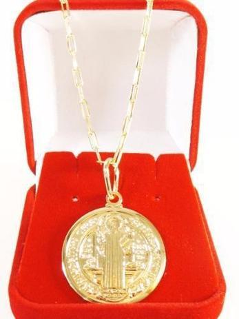 754c55d7021e5 Corrente Masculina Cariter 50cm 4mm + São Bento Tudo Folheado Ouro -  Gabriela costa semi jóias
