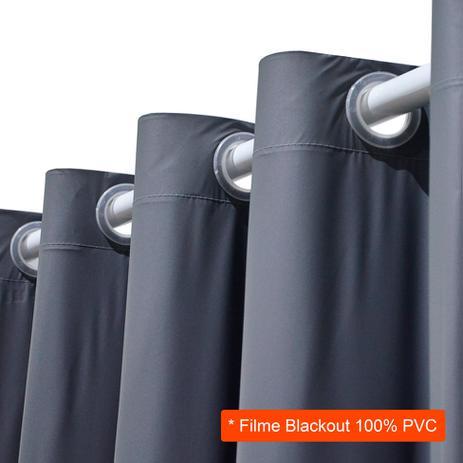 Imagem de Cortina Blackout em PVC para Varão Filme Cinza 280x180