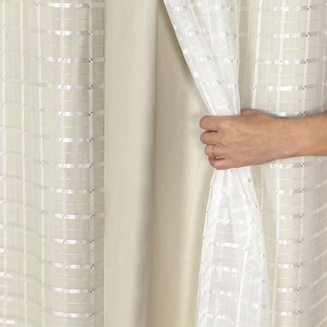 Imagem de Cortina Blackout PVC com Tecido Voil Xadrez 2,80 m x 1,60 m Bege
