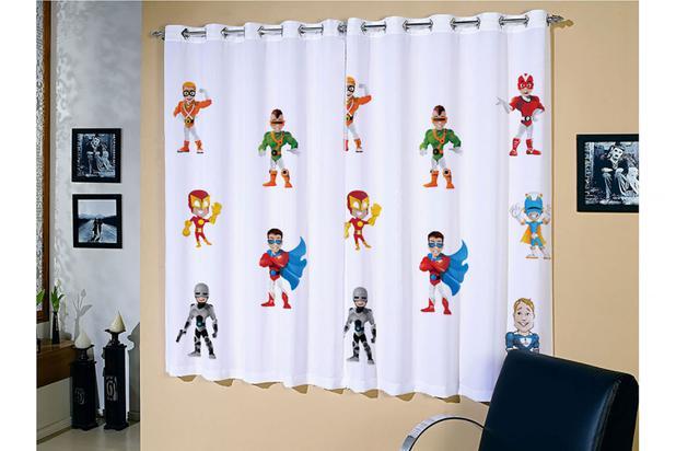 Cortina corta luz blackout estampa infantil super her is - Modelos de cortinas infantiles ...