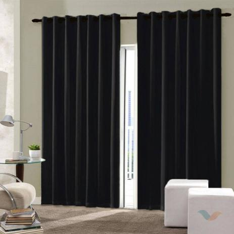 Imagem de Cortina de sala quarto escritório 2,50x3,00 tecido oxford cor preto