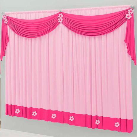 Imagem de Cortina Infantil 2,00m x 1,70m para Quarto de Menina Pink