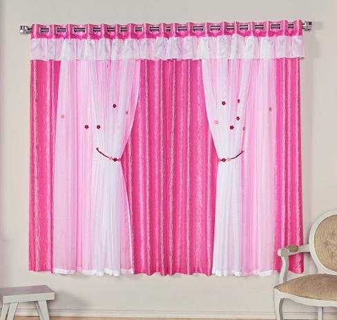 Imagem de Cortina Mimos 2,00m x 1,70m Pink Tecido Seda Com Voal Quarto Infantil Menina