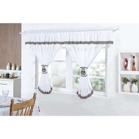 Imagem de Cortina para Decoração de Cozinha 2,00m x 1,30m com Abraçadeira Coruja Bordada