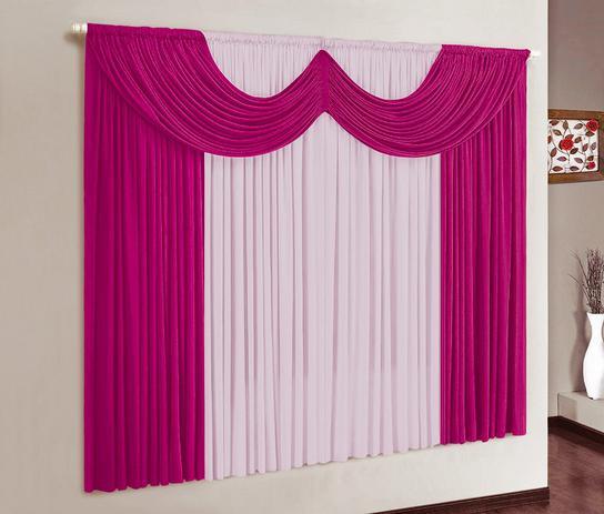 Imagem de Cortina Paris 2,00m x 1,70m Varão Simples - Pink com Rosa