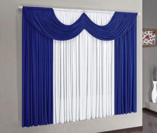 Imagem de Cortina Paris Azul Royal e Branco 2,00m x 1,70m - Varão Simples
