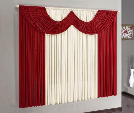 Imagem de Cortina Paris Vermelho e Palha 2,00m x 1,70m - Varão Simples