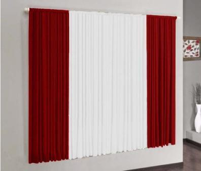Imagem de Cortina Versátil Vermelho e Branco 2,00m x 1,70m - Varão Simples