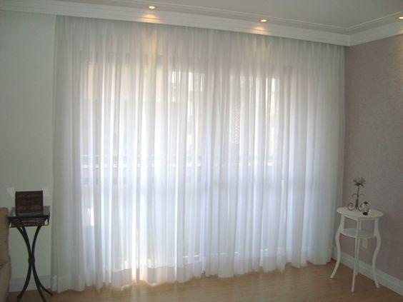 Imagem de Cortina Voil Priori Sala Quarto 4,00x2,80 Ilhós Cromado - Branco