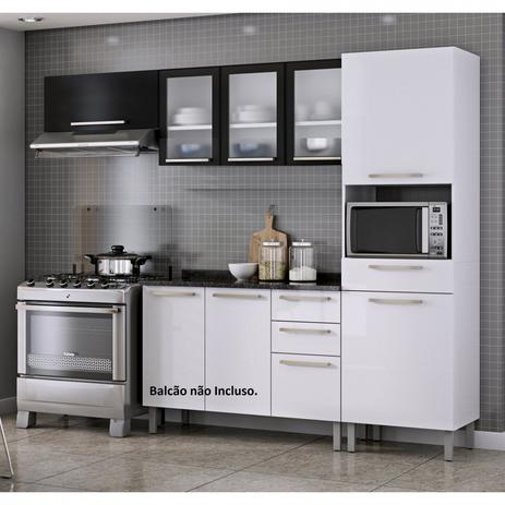 Imagem de Cozinha Compacta 3 Peças sem Balcão Dandara Itatiaia Branco/Preto