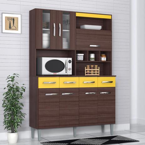 Imagem de Cozinha Compacta 7 Portas 4 Gavetas Melissa 6280 Capuccino/amarelo - Poquema