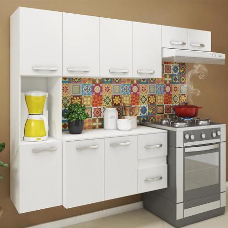 Imagem de Cozinha compacta 9 portas 2 gavetas suspensa armário e balcão anita branco - pnr móveis