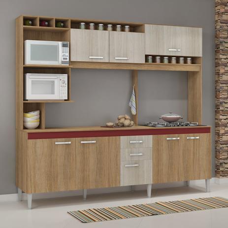 Imagem de Cozinha Compacta sem Pia e Tampo 8 Portas 2 Gavetas Helen Fellicci Carvalho/Blanche/Bordô