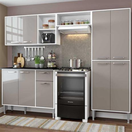 Imagem de Cozinha Completa Compacta Xangai Plus Multimóveis Branco/Fumê