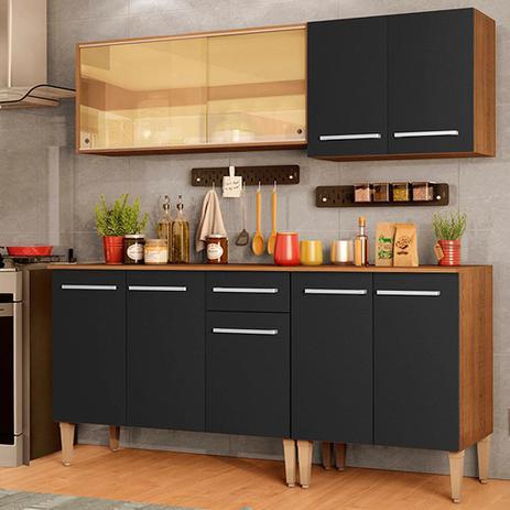 Imagem de Cozinha Completa Madesa Emilly Drive com Balcão e Armário Aéreo Reflex - Rustic/Preto