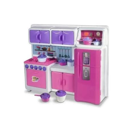 Imagem de Cozinha Cristal Infantil Geladeira Fogao Completa 45cm Re243