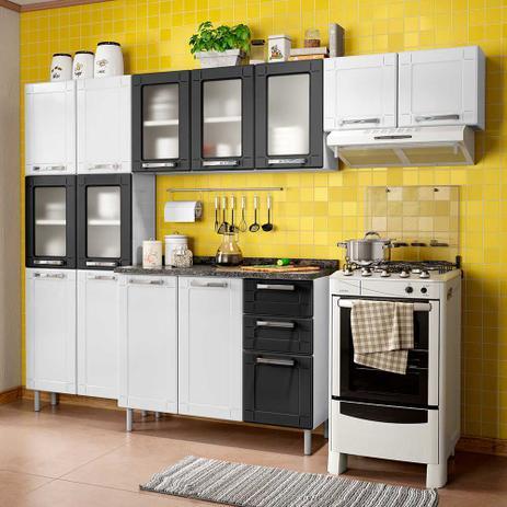 Imagem de Cozinha de Aço Compacta 2 Peças Vidro, Armário Aéreo e Balcão 2 Gavetas Multipla Bertolini Branco/Preto