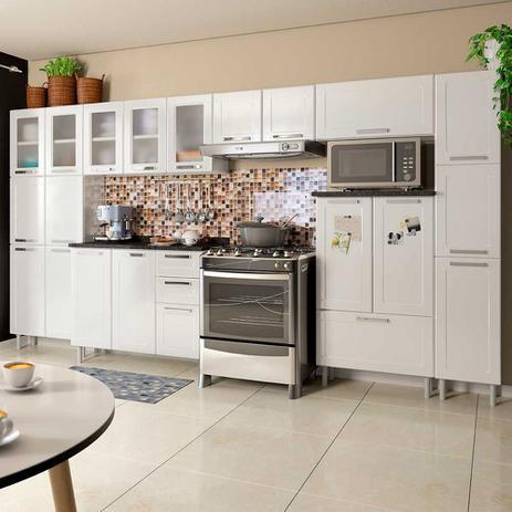Imagem de Cozinha de Aço Completa com 2 Paneleiros, 2 Balcões e 3 Armários Aéreos Vidro Temperado Multipla Bertolini Branco