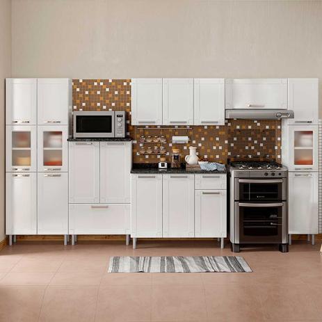 Imagem de Cozinha de Aço Completa com 3 Paneleiros Vidro Temperado, Balcão e 2 Armários Aéreos Múltipla Bertolini Branco