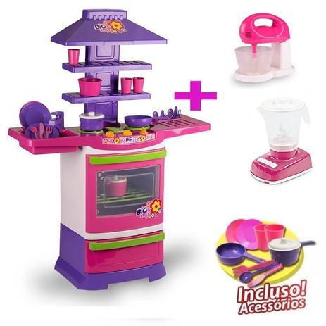 Imagem de Cozinha Infantil Brinquedo infantil Poliplac com Batedeira e Liquidificador