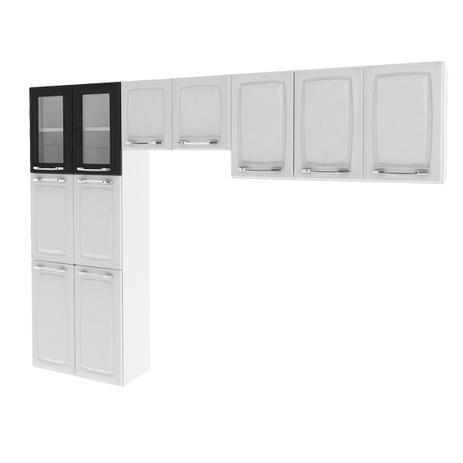 94f0969b6c Cozinha Itatiaia Criativa Compacta 3 Pecas Branco Paneleiro Armario Aereo 2  Vidros Pretos