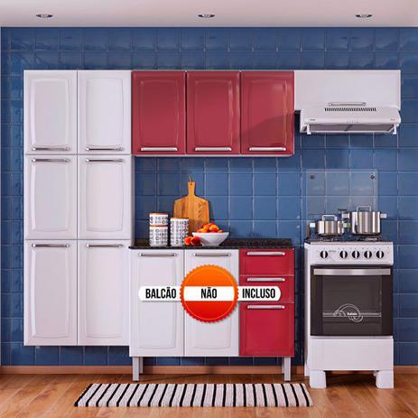 Imagem de Cozinha Itatiaia Luce Compacta 3 Pecas Branco/Vermelho Paneleiro Armario Aereo