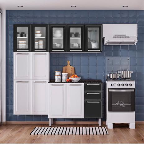 Imagem de Cozinha Itatiaia Luce Compacta 4 Pecas 5 Vidros Branco/Preto Paneleiro Armario Aereo Gabinete