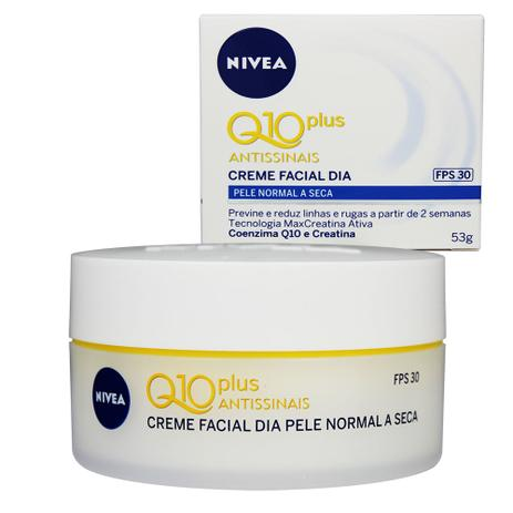 Creme Facial Dia Q10 Plus Antissinais Pele Normal a Seca FPS30 53g - Nivea dfb8f28a16