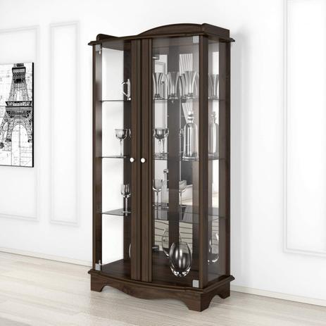 Imagem de Cristaleira com Espelho 2 Portas de Vidro Charme Imcal Castanho