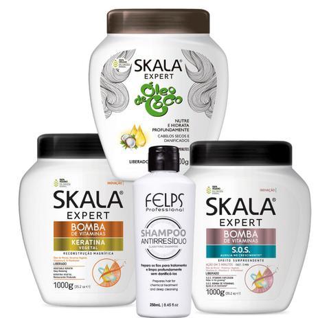 Imagem de Cronograma Capilar Total Skala Sos+ Keratina+ Óleo De Côco 3 x 1000 g e Shampoo Anti Resíduo 250 ml