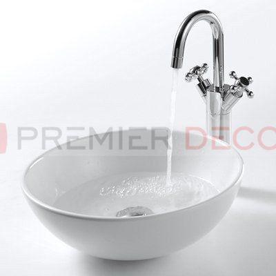 Imagem de Cuba de Apoio Banheiro Lavabo Sobrepor Redonda de Porcelana Cerâmica Louça C262 + Válvula Click V01 - Premierdecor