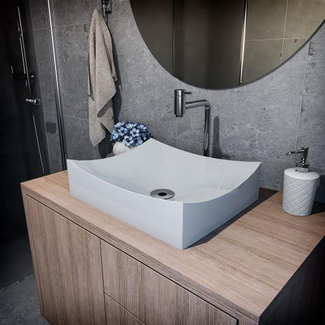 Imagem de Cuba de Apoio Para Banheiro Modelo Milano 46 Cm Marmorite Cinza