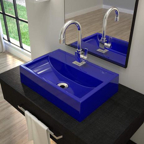 Imagem de Cuba de Apoio para Banheiro Q45W Retangular Compace Azul Escuro