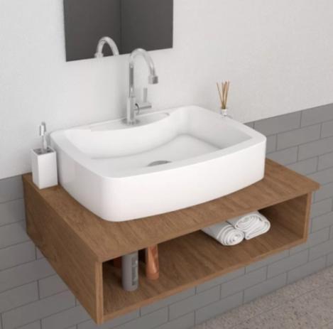Imagem de Cuba Pia de Apoio Para Banheiro e Lavabo Modelo Albani Branca